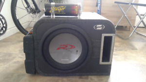 """12"""" ALPINE SUBWOOFER WITH AMP BOX AND CAPACITOR"""