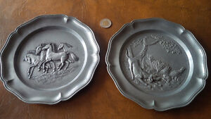 Wall Plaques, Pewter?, Made In Italy