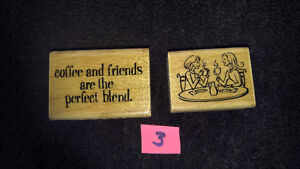 """Coffee and Friends"" Wood Stamps Scrapbooking or Card Making NEW"