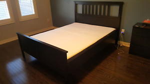 (AS NEW) Ikea HEMNES Bed frame with MORGEDAL Mattress