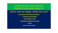 EURO SOCCER 2016- FANTASY COMPETITION OPEN! CALL: (416) 316-1217