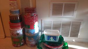 Christmas tins, platters, etc.