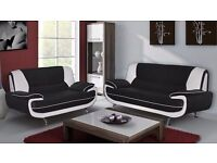 Brand New Faux Leather Carol Black and White Sofa 3+2 Seater Suite Available 3&2 seater