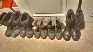 5x pairs of men's and women's winter boots sizes 7, 8, 9