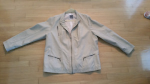 Manteau cuir mou beige-Soft leather jacket beige