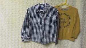 Boys Designer Mexx Check Shirt & L/S Yellow Top Size 5 Years
