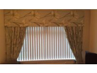Excellent Condition Duck Egg Flower Patterned Curtains