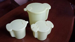 Tupperware Pitcher with Cream and Sugar Containers