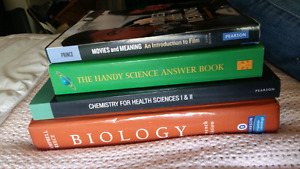 Textbooks: Chemistry, Biology, Film and General Science