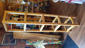 2 glass and wood shelves
