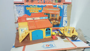 vintage fisher price western town with box