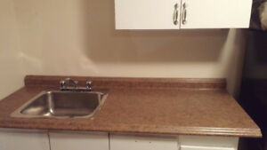 Kitchen counter top, sink, faucet and taps