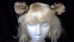 leopard ears on hair clips. handmade. cute & comfortable.