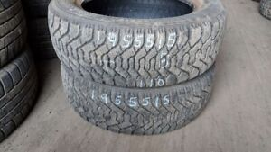 Pair of 2 Goodyear Nordic 195/55R15 WINTER tires (70% tread life
