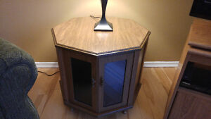 End table with storage cabinet