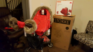 Used Stokke Xplory stroller with parasol, winter and style kits