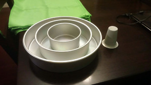 3 tier cake pans with baking funnel