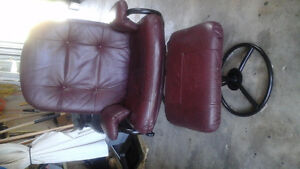 Burgundy chair with matching footstool
