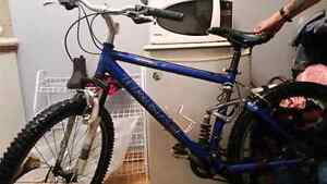 Blue and Black Trek Mountain Bike