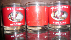 Washington Redskins Vintage Glasses  Set of 3 Brand New RARE