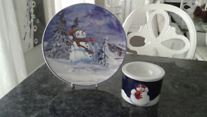 Snowman Plate and 2Pc Dip Bowl