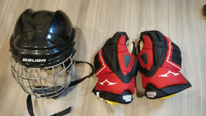 Bauer TrueVision Helmet with Cage and Hockey Gloves