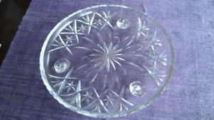 Lovely old cut glass cake/square server - 10.5 inches diameter