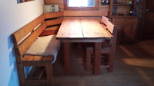 Solid wood corner bench,chairs and table