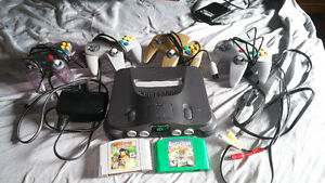N64 With 4 Controllers and 2 Games