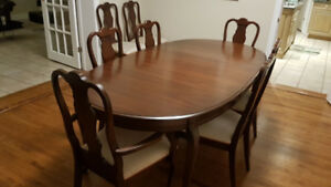 Cherrywood dining room set and table pads