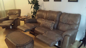 Lazy-boy leather sofa and chair set