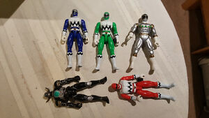 Power rangers in space and lost Galaxy figures with bonus serpen
