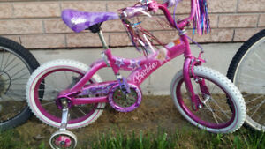 kids barbie bmx style bike with training wheels!