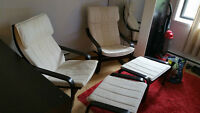 IKEA POANG chair + footstool / chaise + repose-pieds