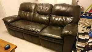 REAL leather, reclining sofa, quick sale