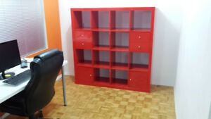 Ikea Expedit High gloss Red book shelf with 4 drawers + 2 doors