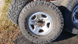 Dodge 8x6.5 315/70/17 Duratrac tires.