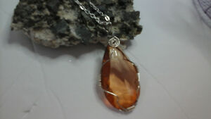 Wire Wrapped Crystal-Cut Glass Pendant