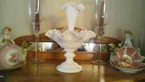 MILK GLASS ESPERGNE VASE - VINTAGE - Sale
