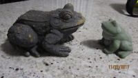 2 Outdoor Pond Statues - 5inch Large Toad & 3inch Porcelain Frog