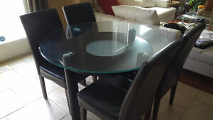 Heavy Duty Glass Top and Hard Wood Dining Table