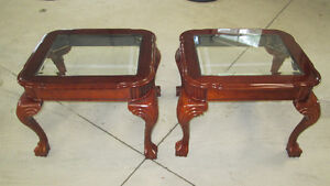 Glass Top Mahogany End Tables