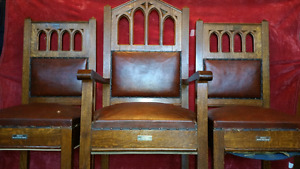 Historic, antique, hand carved oak chairs.