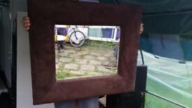 Large Brown Suede Mirror