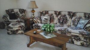 CHESTERFIELD, LOVE SEAT, ARM CHAIR and OTTOMAN