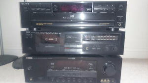 Yamaha receiver, Yamaha tape deck and Sony 5 disk cd player.