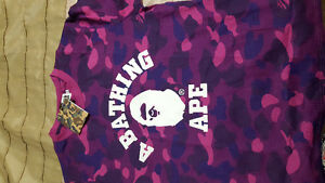 Bape Purple Camo Tee with Tags and Bag