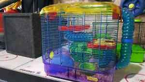 Two hampster cages with everything and ball