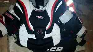 Goalie helmet chest protector
