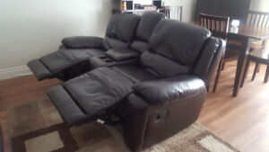Genuine Leather Couch With Two Reclining Seats & Cupholders